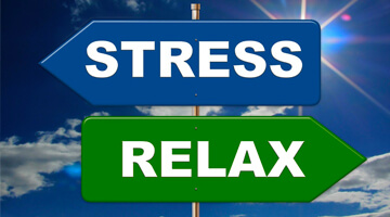sign post stress to the left in blue and relax to the right in green